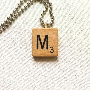 1953 M Scrabble® Tile Initial Pendant Necklace